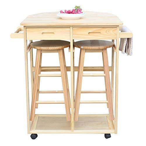 Lowest Price Online On All Winsome Basics Mobile Breakfast Bar Table Set With 2 Stools In Natural 89332