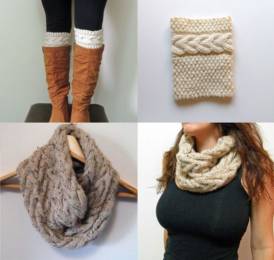 Knitting Pattern Shawl With Cuffs : 2 Knitting Pattern, Grace Cable Boot Cuffs Pattern, Cable Cowl Infinity Scarf...