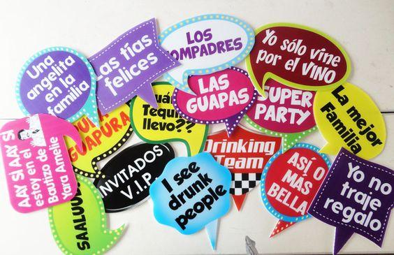 Letreros divertidos globos de dialogo photobooth photocall - Ideas divertidas para fiestas ...