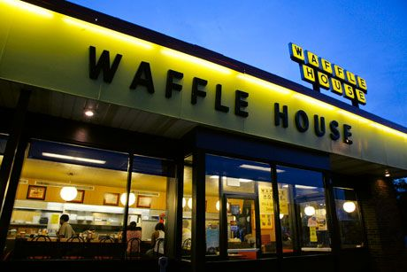 "Waffle House pecan waffles! Pronounced ""pee-can"", yes indeed! And don't forget to play the Waffle House Song on the jukebox!! Lord have mercy!!"