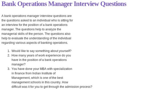 Bank Operations Manager Interview Questions Read More @ Http\/\/www   Case  Case Manager Interview Questions