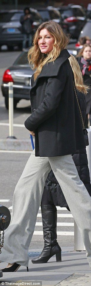 No-nonsense:While on the street saying farewell to friends, she showed off her light grey...
