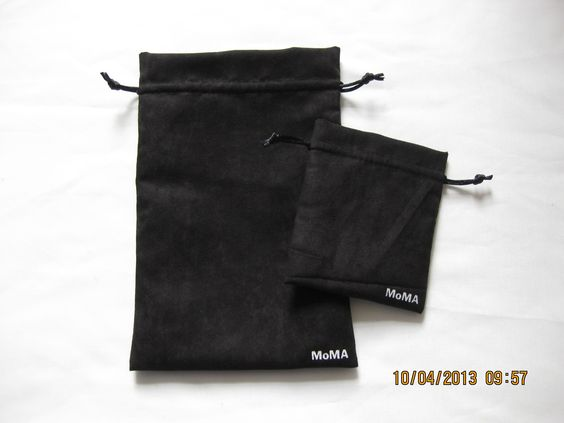 MoMA suede drawstring pouch