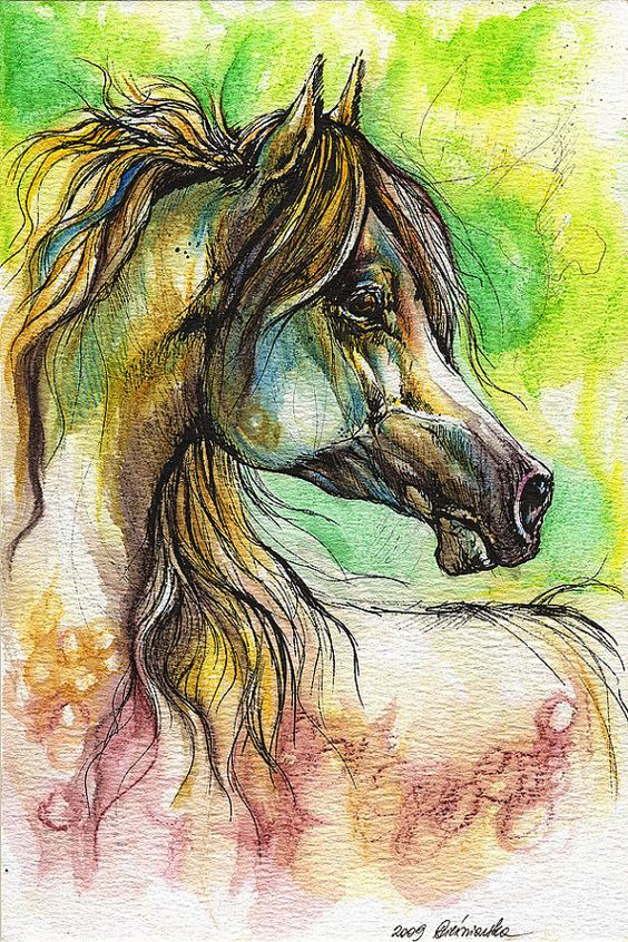 Rainbow horse watercolor painting ink paintings for Small paintings that sell