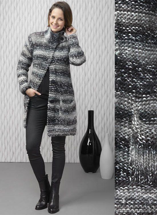 Modèle gratuit : manteau en maille XL  à tricoter au point mousse et point jersey.