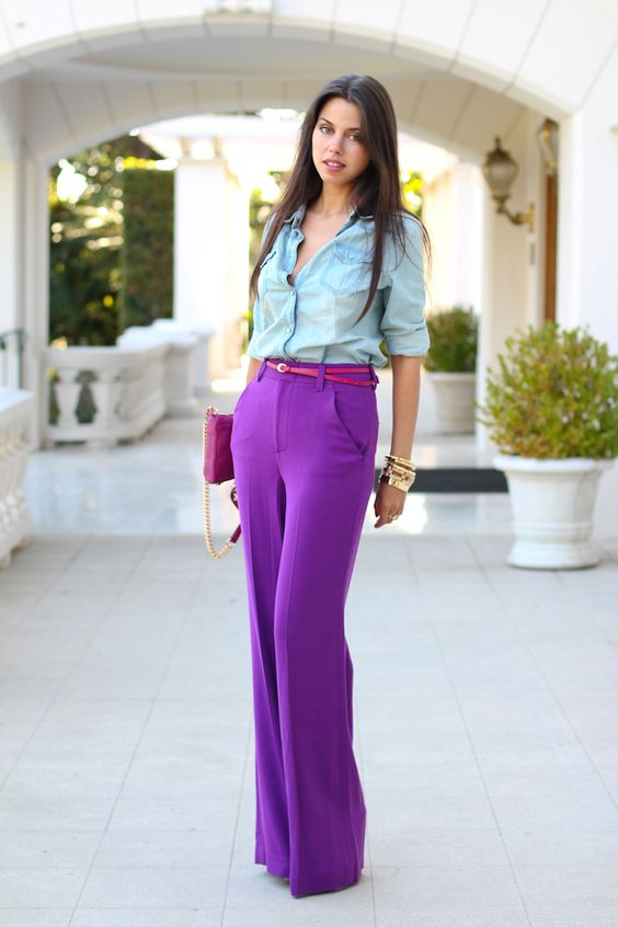 high waist purple pants with chambray shirt