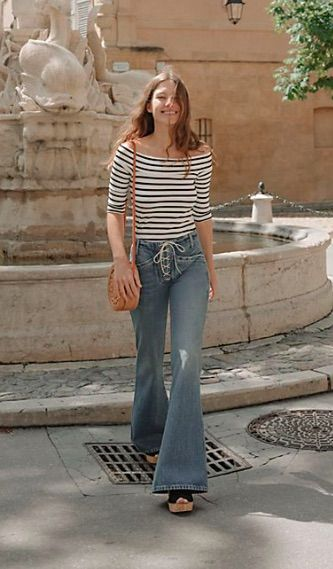 American made flares, from Citizen of Humanity, featuring a statement lace-up fly with metal grommets are just too cool! Citizens of Humanity Sally Flare Jeans available at Today's Fashion Item!