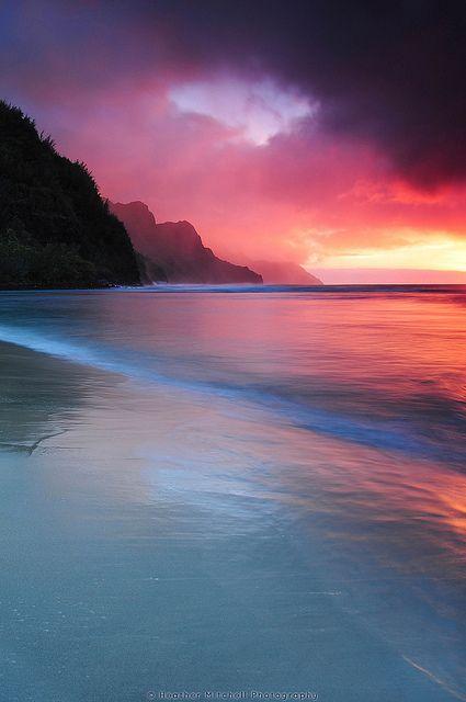 Kauai Sunset in Haena, Hawaii by © Heather Mitchell Photography via Flickr