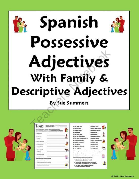 students practice agreement in number and gender of spanish possessive adjectives family nouns. Black Bedroom Furniture Sets. Home Design Ideas
