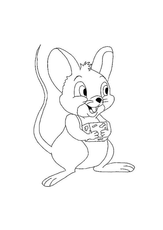 dessin d une souris g ante tenant un fromage colorier coloriages animaux de la ferme. Black Bedroom Furniture Sets. Home Design Ideas