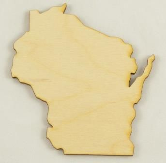Wisconsin State Cutout | Unfinished Wood Cutouts | Wood Shapes