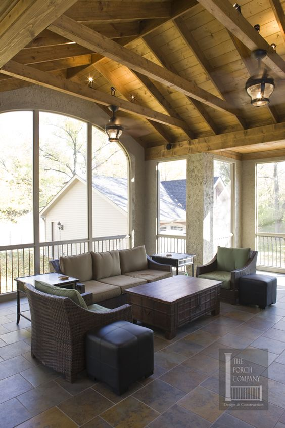 Screened Porch Exposed Beams : Porch company nashville exposed rafter ceiling like