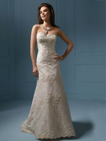 Alfred Angelo embroidered lace gown.