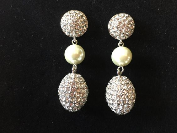 """""""Egg-Travagant"""" Pave Earrings Black Diamond Crystals with Pearls"""