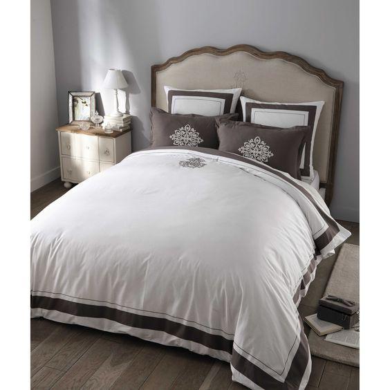 Bettwäschegarnitur MONTESQUIEU aus Baumwolle, 220 x 240 cm, weiß