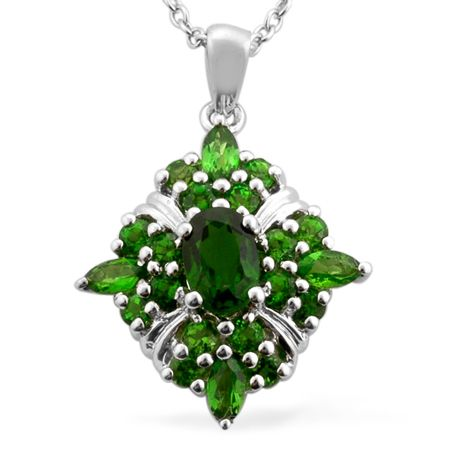 Liquidation channel russian diopside pendant with chain 18 in in liquidation channel russian diopside pendant with chain 18 in in platinum overlay sterling aloadofball Images