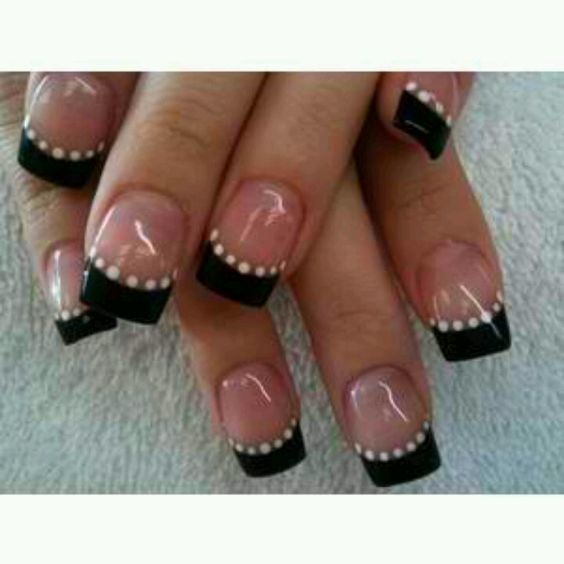 Black french manicure - I'd like to see this done with gel (like opi or shellac) instead of the fake nails