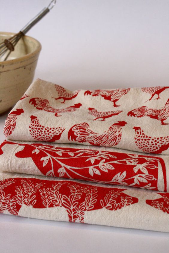 Flour Sack Towel Hand Printed Red Chickens by thehighfiberco