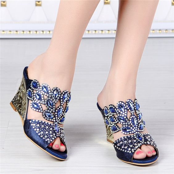 2016 New European Summer Diamond Leather High Heel Shoes Wedges Footwear Online Shopping Sandals Thick Big Size-in Women's Sandals from Shoes on Aliexpress.com | Alibaba Group