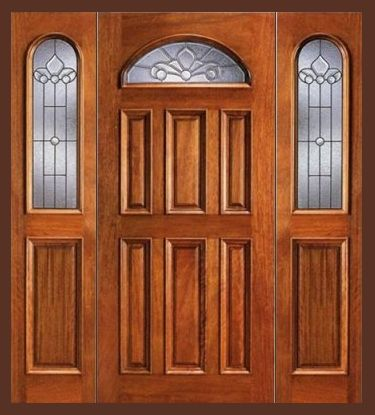 Cheap Entry Doors With Side Lights Entry Prehung Eye Brow Single Wood Door With 2 Sidelights