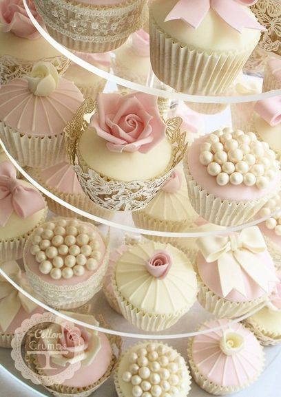 Pink & Ivory Vintage Cupcakes. I think I would like this more if it was robin's egg or peach and ivory instead of pink.