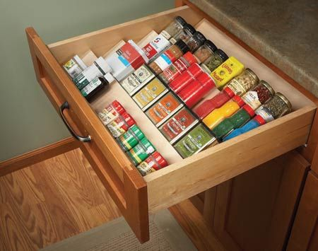 Organize spices with angled shelving