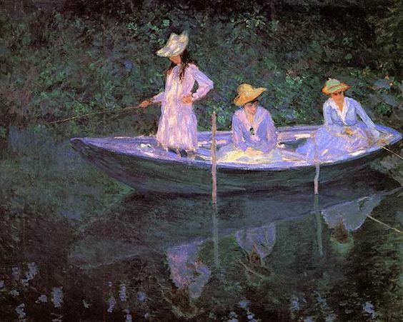 """Claude Monet (1840-1926) les filles de Blanche Hoschédé, seconde femme du peintre. Suzanne, Blanche, Camille, en barque """" norvégienne"""","""