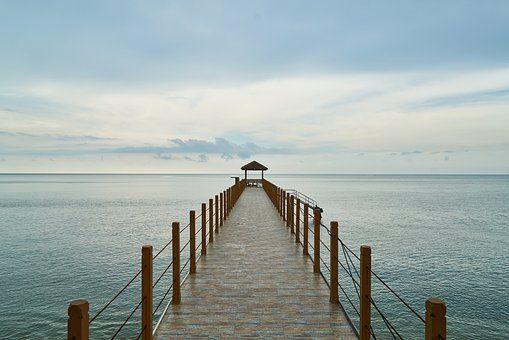 Iskele Lanskap Kayu Pantai Biru Fotografi Pemandangan Latar