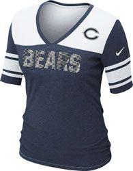 Nike Chicago Bears Women's Team Wordmark T-Shirt - Navy Blue