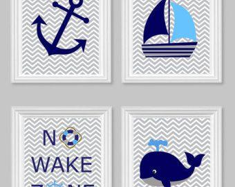 Nautische Kinderzimmer Kunst Nr. Wake Zone von SweetPeaNurseryArt