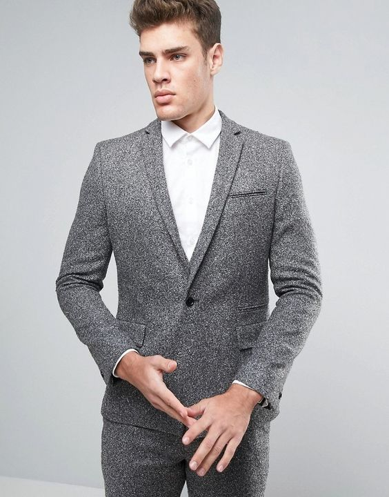 ASOS Slim Suit Jacket in Textured Fabric