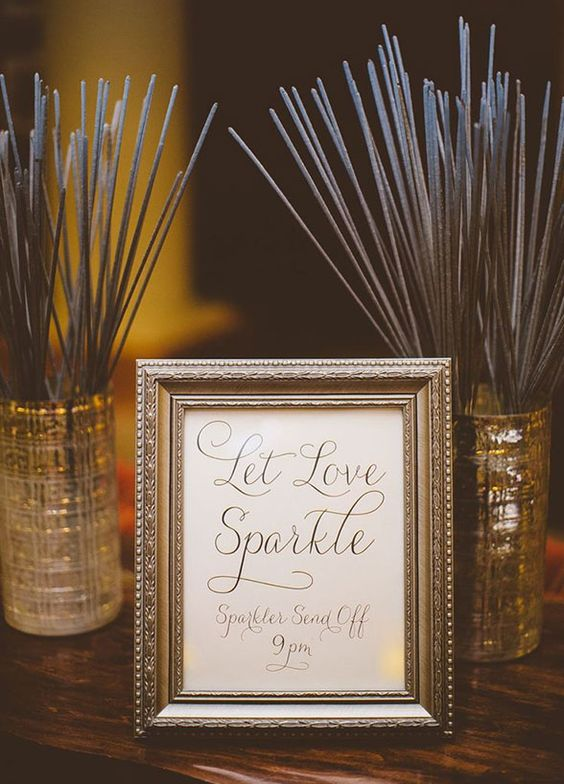 Let love shine! All signs point to fun when gifting guests with sparklers. Plus, they'll help you end the night with a sparkle. Click to view those best wedding favor ideas! http://www.colincowieweddings.com/inspiration-and-details/8-fun-summer-wedding-favor-ideas