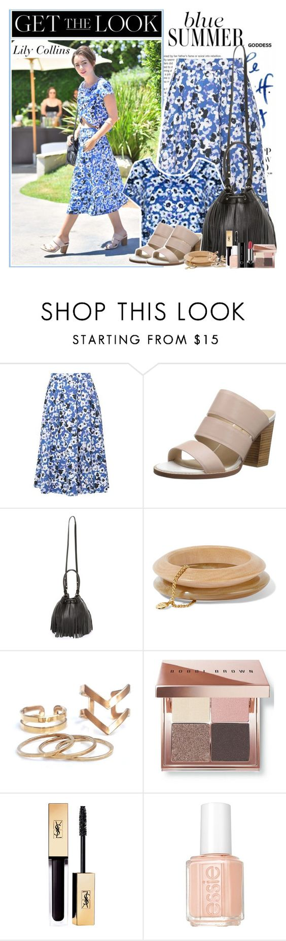 """""""Lily Collins : )"""" by thisiswhoireallyam7 ❤ liked on Polyvore featuring Sol Sana, Milly, Ben-Amun, Bobbi Brown Cosmetics, Essie, Marc Jacobs, GetTheLook, fringe, floralprint and summersandals"""