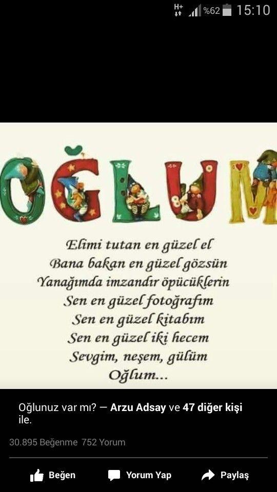 Canim Oglum Oglumu Seviyorum Guzel Soz Ilham Verici Sozler