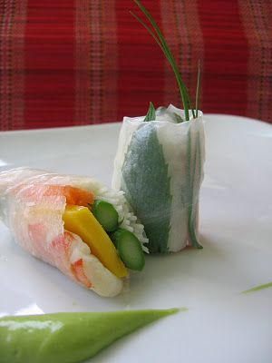 Shrimp and Asparagus Summer Rolls with Avocado Puree