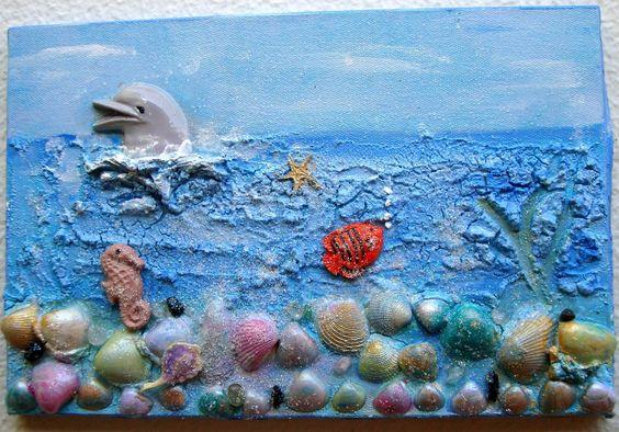 Colagem sobre tela.  Tema marinho
