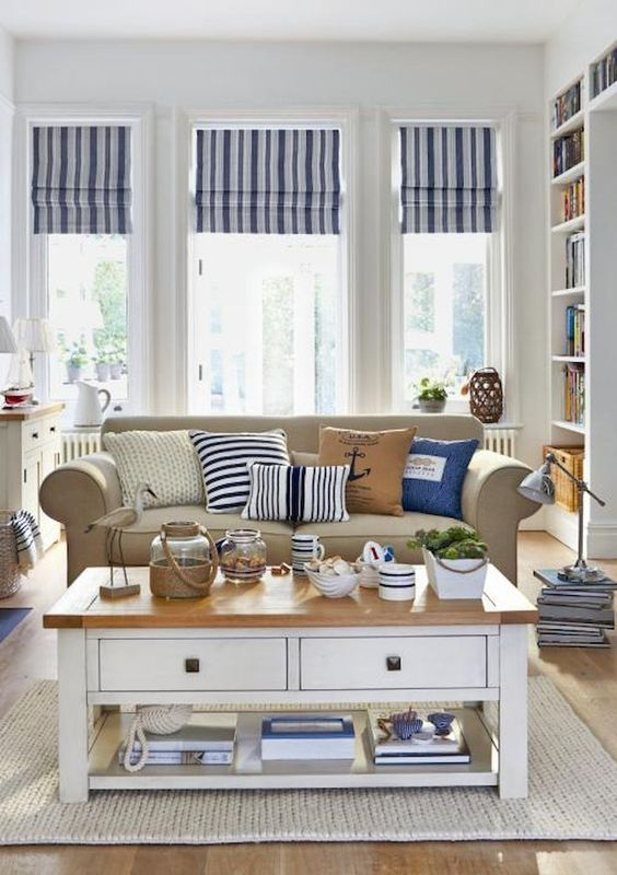 Beach Cottage Style Living Room With Homage To Cabanas With The Stripes Cottage Nautical Decor Living Room Coastal Style Living Room Nautical Living Room #ocean #decor #living #room