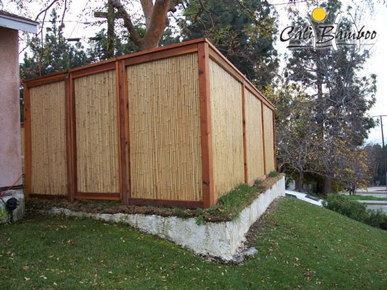 Bamboo fence with framing pool equipment enclosure idea for Garden pool equipment