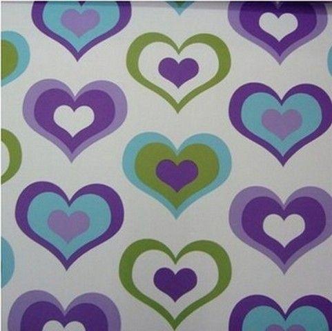 meisjes paars blauw groen hartjes behang