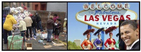 While people dumpster dive for food, Obama goes to Vegas...     http://dailycaller.com/2012/09/14/stern-on-obama's-las-vegas-performance-every-american-should-be-ashamed-of-their-president-audio/.