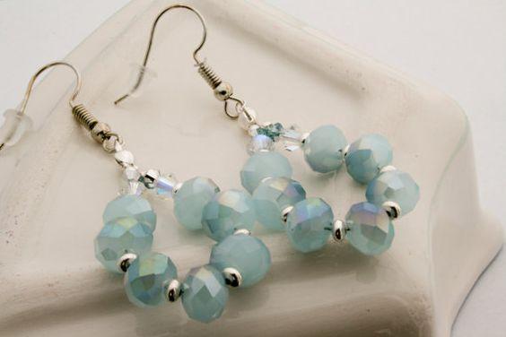 Soft aqua blue earrings aquablue earrings with faceted door Fedaro