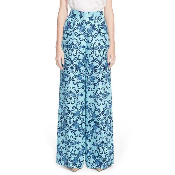 ESCADAHeritage Print Wide Leg Silk Pants ($1,225) ❤ liked on Polyvore featuring pants, blue multi, escada, silk trousers, wide leg print pants, silk wide leg pants and silk pants