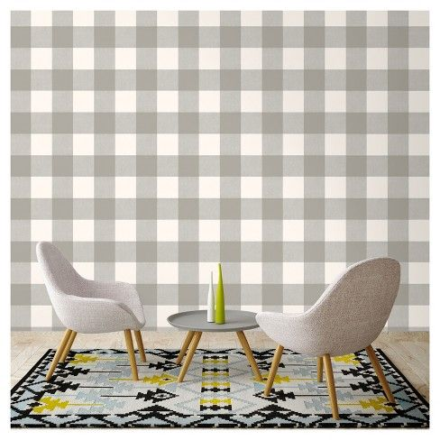 Buffalo Plaid Peel Stick Wallpaper Gray Threshold French Country Living Room Peel And Stick Wallpaper Wallpaper Fireplace