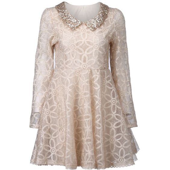 Floral Lace Double-layered Apricot Shift Dress ($45) ❤ liked on Polyvore