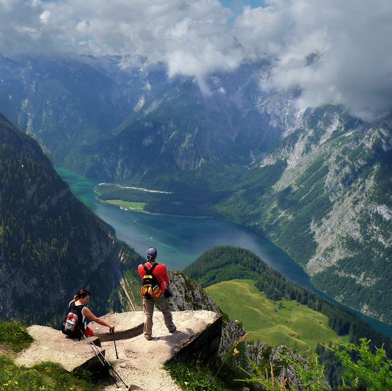 Breathtaking view from the Jenner mountain top over the Konigssee (King's Lake), in the county of Berchtesgaden - Bavaria, Germany.