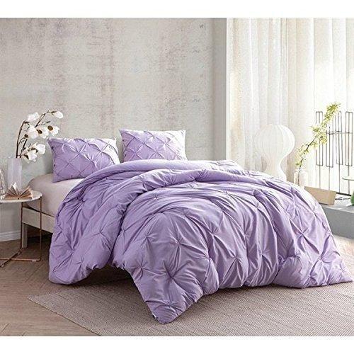 Light Purple Pinch Pleated Comforter King Set Plush Pinched Pleat