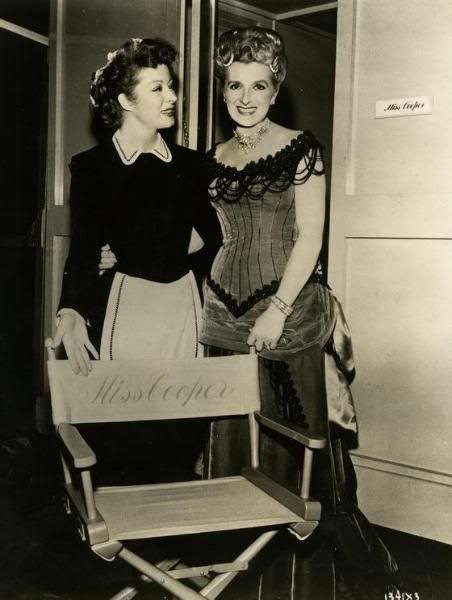 Greer Garson and Gladys Cooper on the set of 'The Valley of Decision'