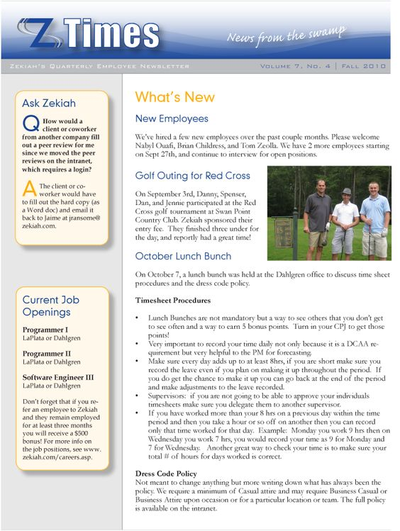 Employee Newsletter Ideas  Ideas    Newsletter Ideas