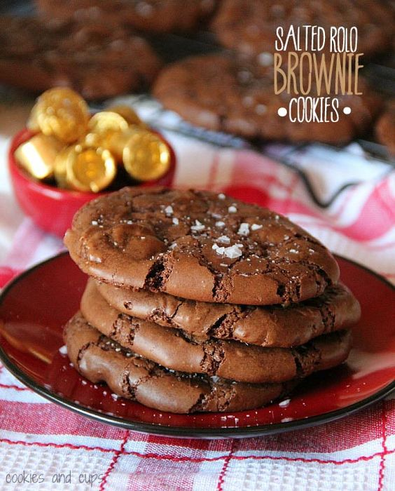 Salted Rolo Brownie Cookies.  A Brownie cookie loaded with Rolo pieces and sprinkled lightly with flaked sea salt.