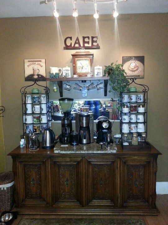 Home coffee bar ideas coffee bar ideas and because you for Coffee bar design ideas
